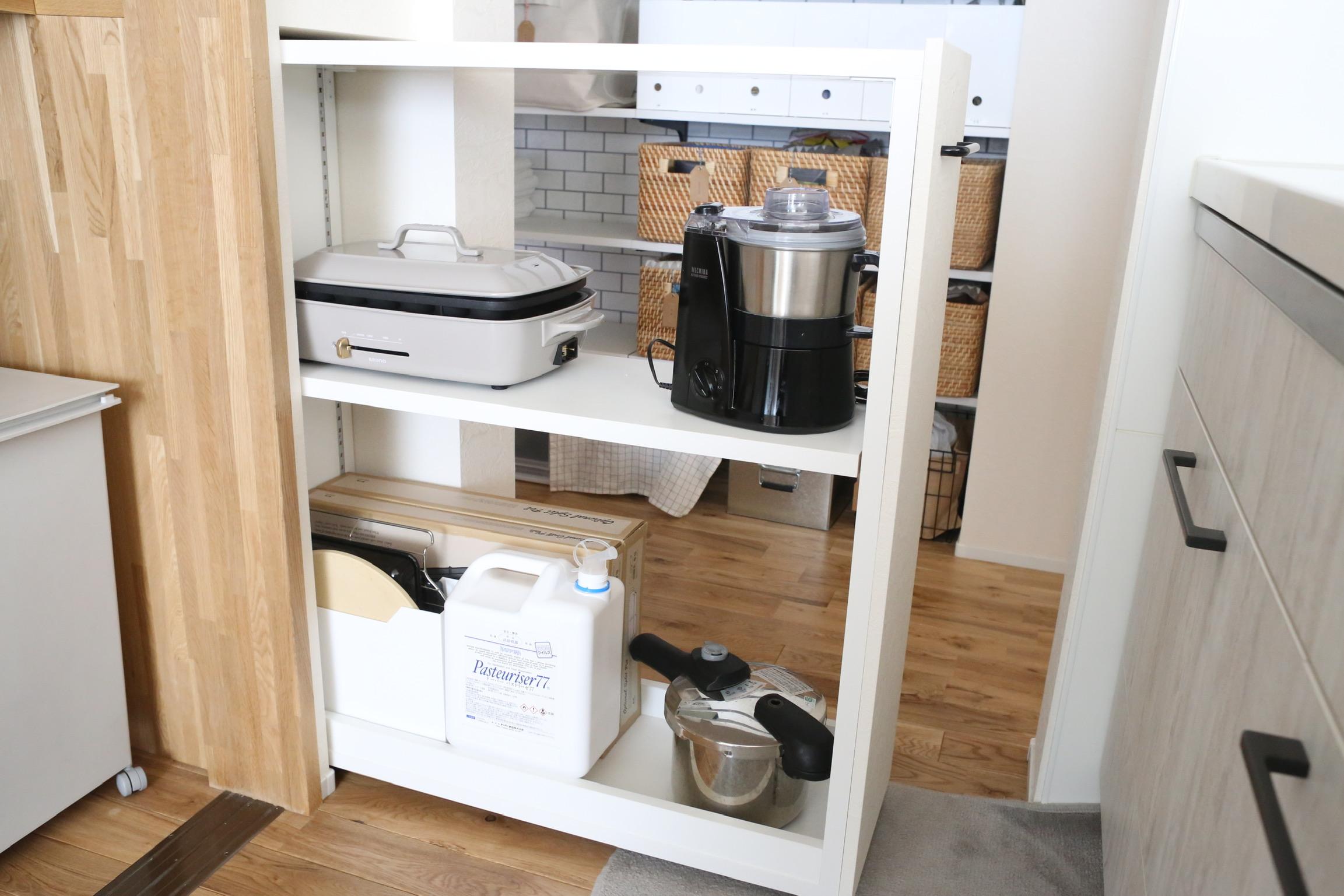 《web内覧会2019》キッチン背面収納4  必ず驚かれる隠れ収納はココ!